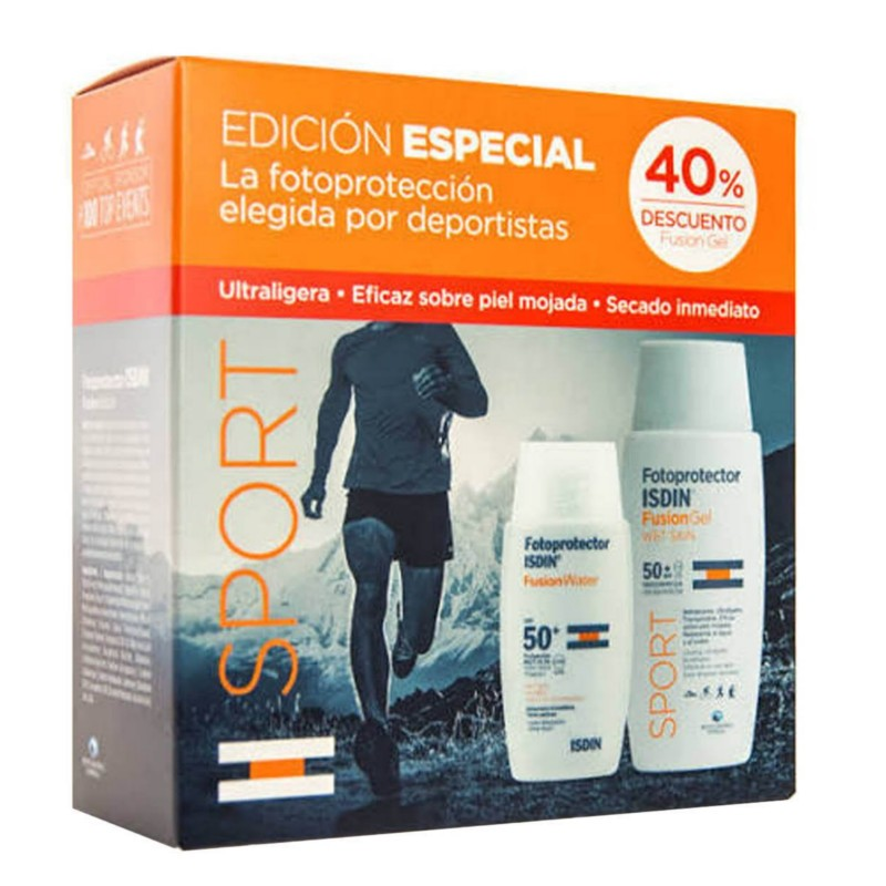 Fotoprotector Isdin Pack Sport fusion gel 50+ 100 ml + Fusion Water 50+ 50 ml