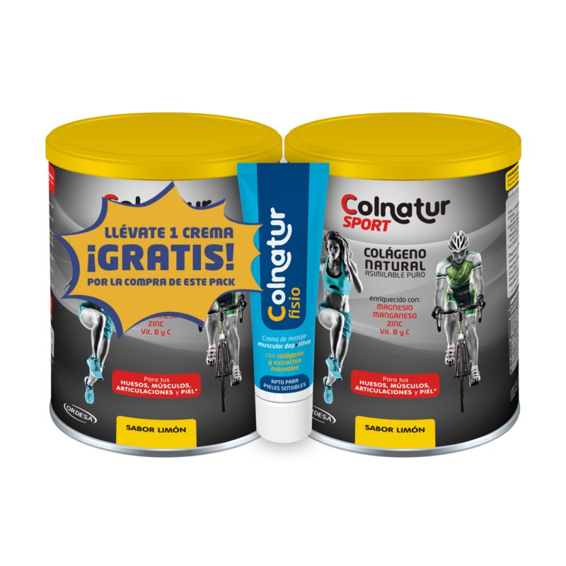 Colnatur sport Duplo sabor limón + regalo de crema de masaje colnatur fisio