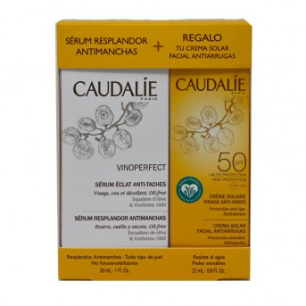 Caudalie Pack oferta Vinoperfect serum 30 ml + Crema solar facial SPF50+ 25 ml