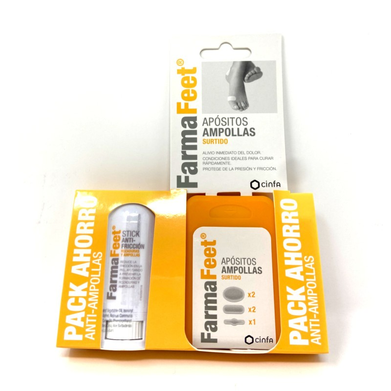 FarmaFeet Pack Ahorro Anti ampollas Apósitos surtidos + Stick anti fricción
