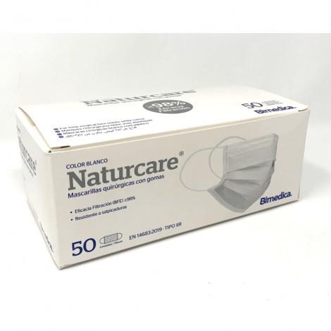 Naturcare mascarillas quirúrgicas blancas caja 50 uni