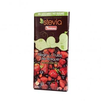 Chocolate Negro con frutas del bosque y Stevia Torras