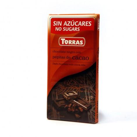 Chocolate negro sin azúcar con pepitas de cacao Torras