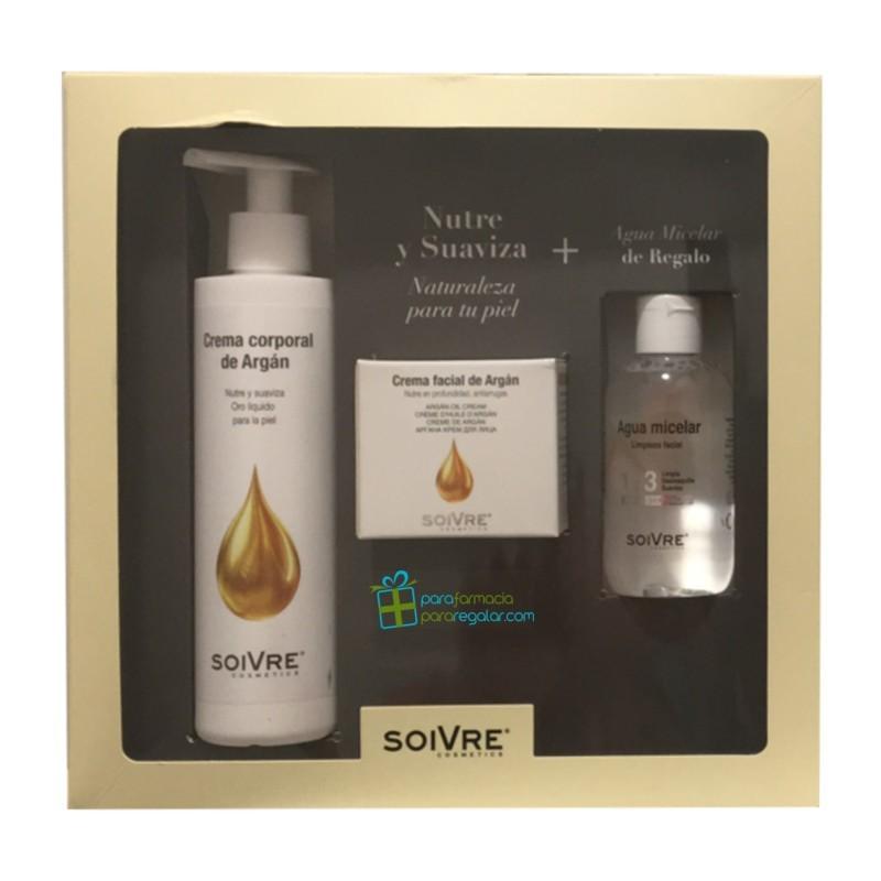 Soivre Pack crema facial y crema corporal de aceite de Argán + Agua Micelar